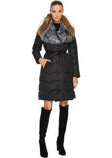 """Diane von Furstenberg Brooke Triple Faux Fur Collar Tie Waist 38"""" Puffer Jacket"""