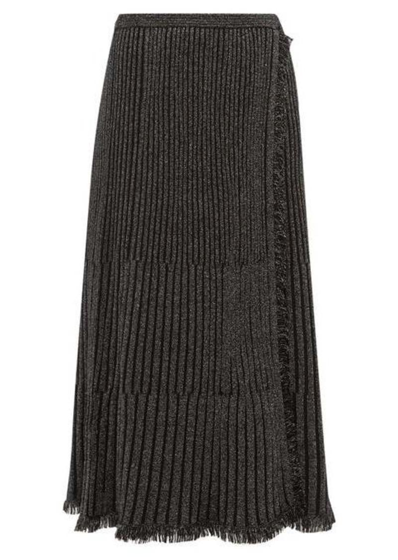 Diane Von Furstenberg Brooklyn metallic ribbed midi skirt