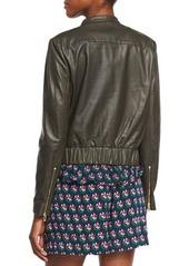 Diane von Furstenberg Buckley Cropped Leather Jacket