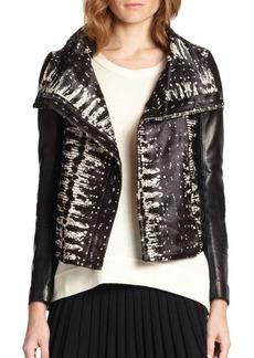 Diane von Furstenberg Calf Hair & Leather Moto Jacket