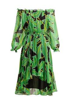 Diane Von Furstenberg Camilla off-the-shoulder printed silk dress
