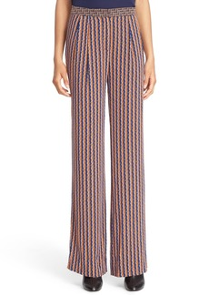 Diane von Furstenberg 'Campbell' Contrast Waist Stretch Silk Pants