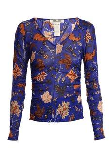 Diane Von Furstenberg Canton-print mesh top