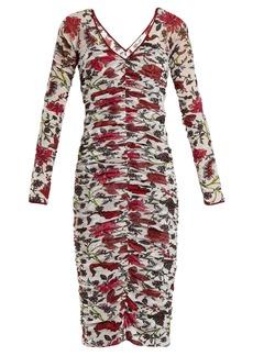 Diane Von Furstenberg Canton-print ruched mesh dress