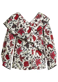 Diane Von Furstenberg Canton-print stretch-cotton wrap top