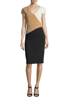 Diane von Furstenberg Cap-Sleeve Banded V-Neck Midi Dress