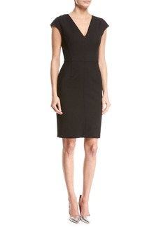 Diane von Furstenberg Cap-Sleeve V-Neck Sheath Dress