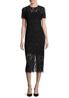 Diane von Furstenberg Carly Short-Sleeve Lace Midi Dress