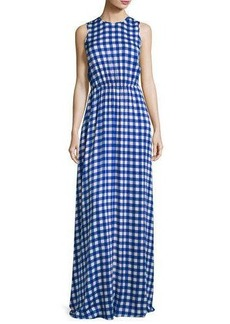 Diane von Furstenberg Check-Print Sleeveless Cinched-Waist Maxi Dress
