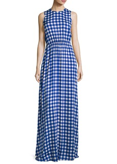Diane von Furstenberg Check-Print Sleeveless Cinched-Waist Maxi Dress