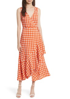 Diane von Furstenberg Check Ruffle Hem Wrap Dress