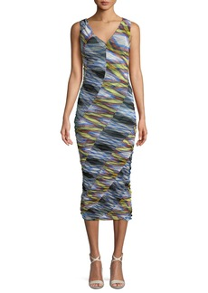 Diane von Furstenberg Check Sleeveless Mesh Bias-Ruched Midi Dress