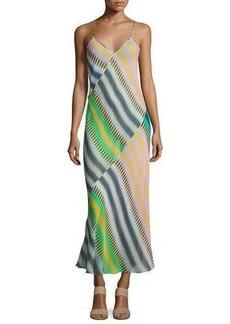 Diane von Furstenberg Chiffon Sleeveless Bias-Cut Slip Maxi Dress