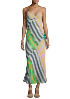 Diane von Furstenberg Chiffon Sleeveless Bias-Cut Slip Maxi Dress