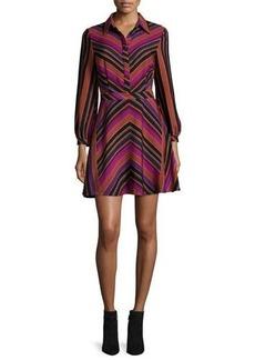 Diane von Furstenberg Chrissie Chevron-Stripe Shirtdress