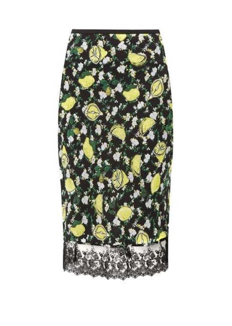 Diane Von Furstenberg Chrissy lemon-print silk knee-length skirt