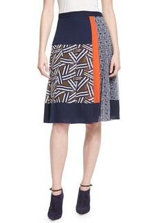 Diane von Furstenberg Cici Mixed-Print Pleated Skirt