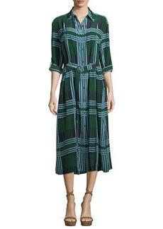 Diane von Furstenberg Clarise Belted Plaid Silk Jersey Shirtdress