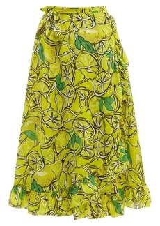 Diane Von Furstenberg Clarissa lemon-print wrap cotton-blend skirt
