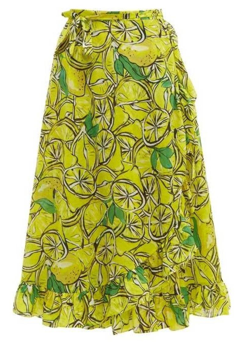 Diane Von Furstenberg Clarissa lemon-print wrap cotton-blend skirt