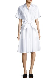 Diane von Furstenberg Collared Cotton Tie-Front Shirtdress