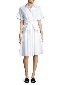 Diane von Furstenberg Collared Cotton Tie-Front Shirtdress