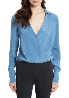 Diane von Furstenberg Collared Silk Wrap Front Blouse