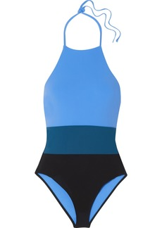 Diane Von Furstenberg Color-block halterneck swimsuit