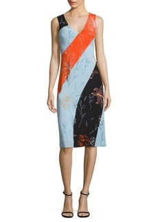 Diane von Furstenberg Colorblock Bias-Cut Silk Midi Dress