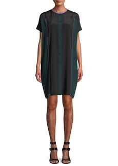 Diane von Furstenberg Colorblock Button-Front Silk Shirtdress