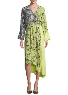Diane von Furstenberg Colorblock Floral-Print Silk Kimono Dress