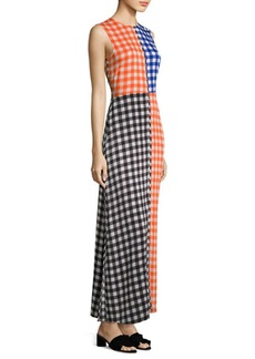 Diane von Furstenberg Colorblock Gingham Maxi Dress