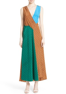 Diane von Furstenberg Colorblock Polka Dot Silk Maxi Dress
