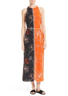Diane von Furstenberg Colorblock Print Silk Maxi Dress