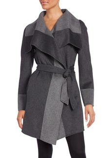 Diane von Furstenberg Colorblock Shawl Collar Coat