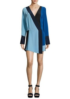 Diane von Furstenberg Colorblock Silk Crossover Mini Dress
