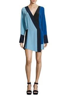 Diane von Furstenberg Colorblock Silk Crossover Mini Dress