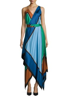 Diane von Furstenberg Colorblock Silk Scarf-Hem Midi Dress