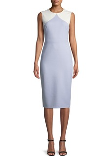 Diane von Furstenberg Colorblock Sleeveless Body-Con Midi Sheath Dress