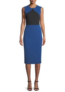 Colorblock Sleeveless Sheath Midi Dress