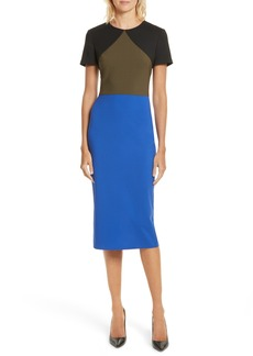 Diane von Furstenberg Colorblock Tailored Midi Dress