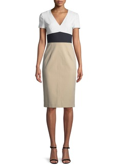 Diane von Furstenberg Colorblock V-Neck Tailored Dress