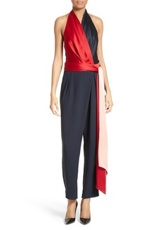Diane von Furstenberg Colorblock Wrap Halter Jumpsuit