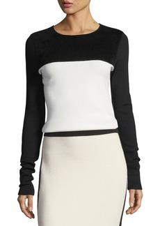 Diane von Furstenberg Colorblocked Fitted Pullover Wool-Knit Sweater