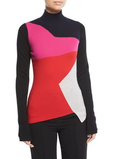 Diane Von Furstenberg Colorblocked Turtleneck Pullover Sweater