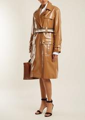 Diane Von Furstenberg Contrast-belt vinyl trench coat