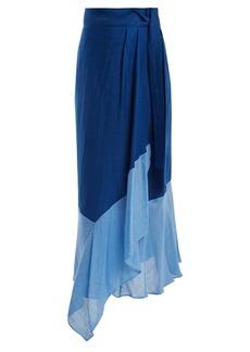 Diane Von Furstenberg Contrast-hem linen-blend wrap skirt