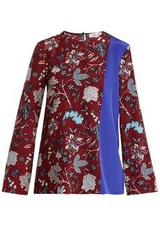 Diane Von Furstenberg Contrast-panel silk crepe de Chine top