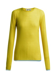Diane Von Furstenberg Contrasting-panel wool-blend top