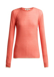 Diane Von Furstenberg Contrasting-trim ribbed-knit wool-blend top